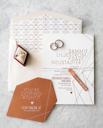 diamond pattern geometric wedding invitations