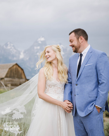 beth behrs and michael gladis wedding portrait