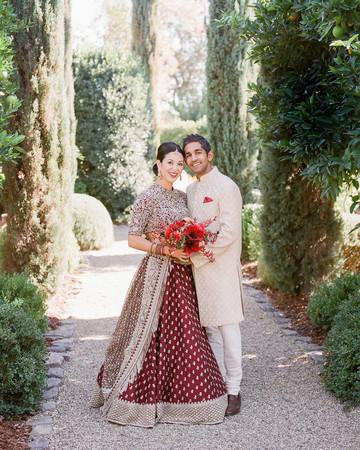 jenna alok wedding wine country california couple on path