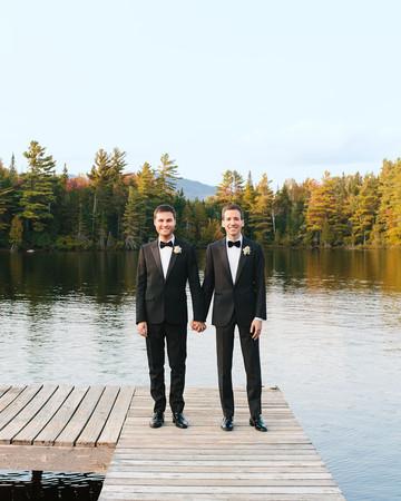 tory sean wedding lake placid new york couple grooms hands