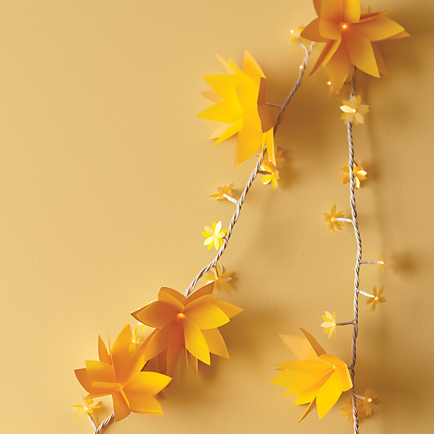 Light up paper flower garland how to martha stewart weddings mightylinksfo