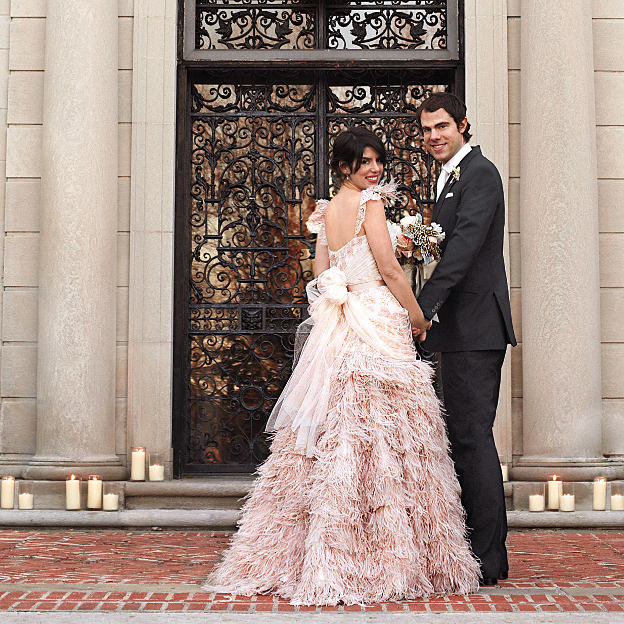 Colorful dresses from real weddings martha stewart weddings ombrellifo Choice Image