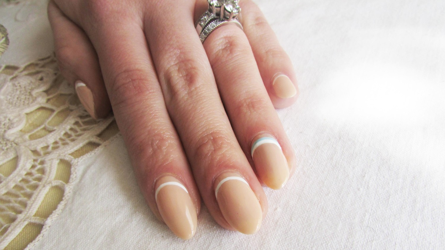 "Something Blue"" Reverse French Manicure Wedding Nails 