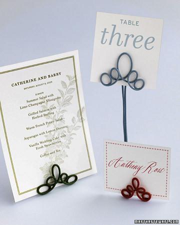 Wire Card Holders | Martha Stewart Weddings
