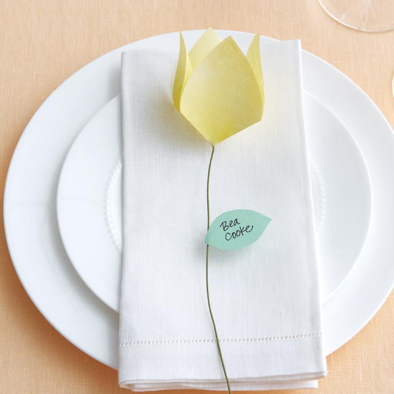 Origami Flower Place Cards Martha Stewart Weddings