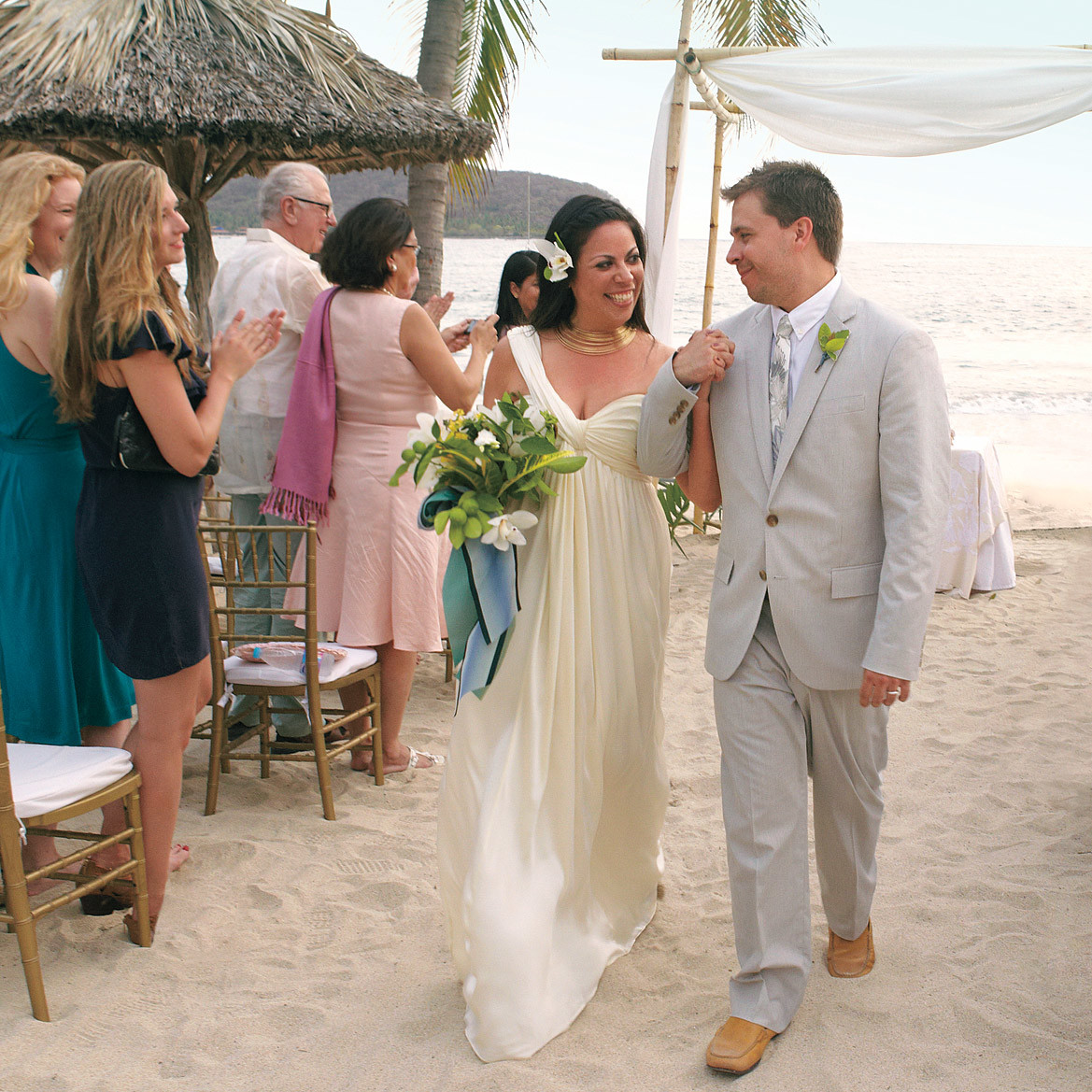 A Navy-and-White Destination Wedding On The Beach In