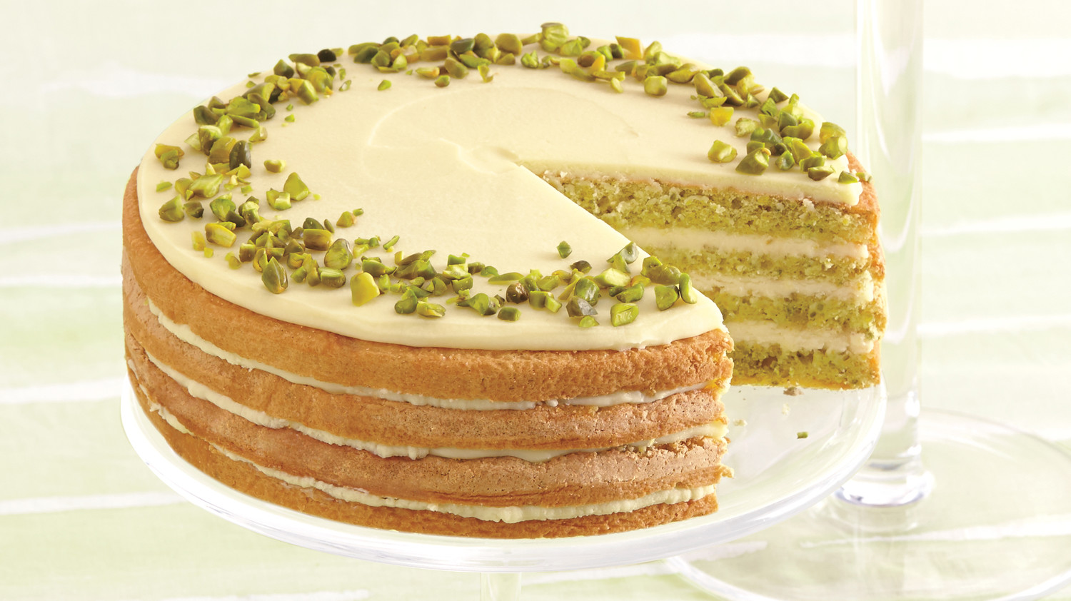 Sicilian Pistachio Cake With Lemon Syrup And White Chocolate Ganache