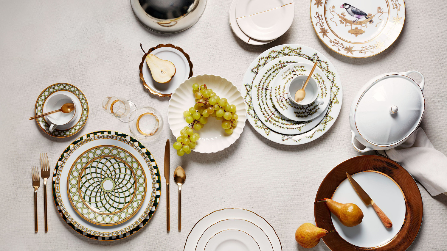 opulent gold green nature china & Enhance Your Registry with Dinnerware Sets Inspired by Iconic ...