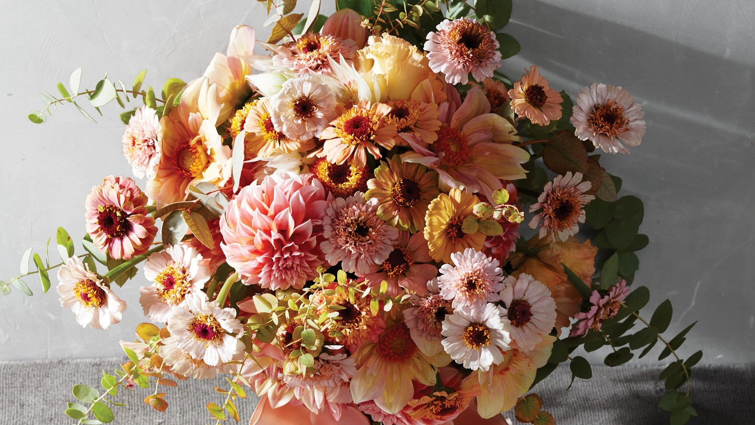 Pink and Orange Zinnia and Scabiosa Bouquet