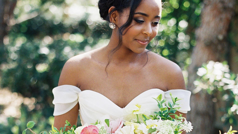 0b00192cd1c9 41 Brides Wearing Off-the-Shoulder Wedding Dresses | Martha Stewart Weddings