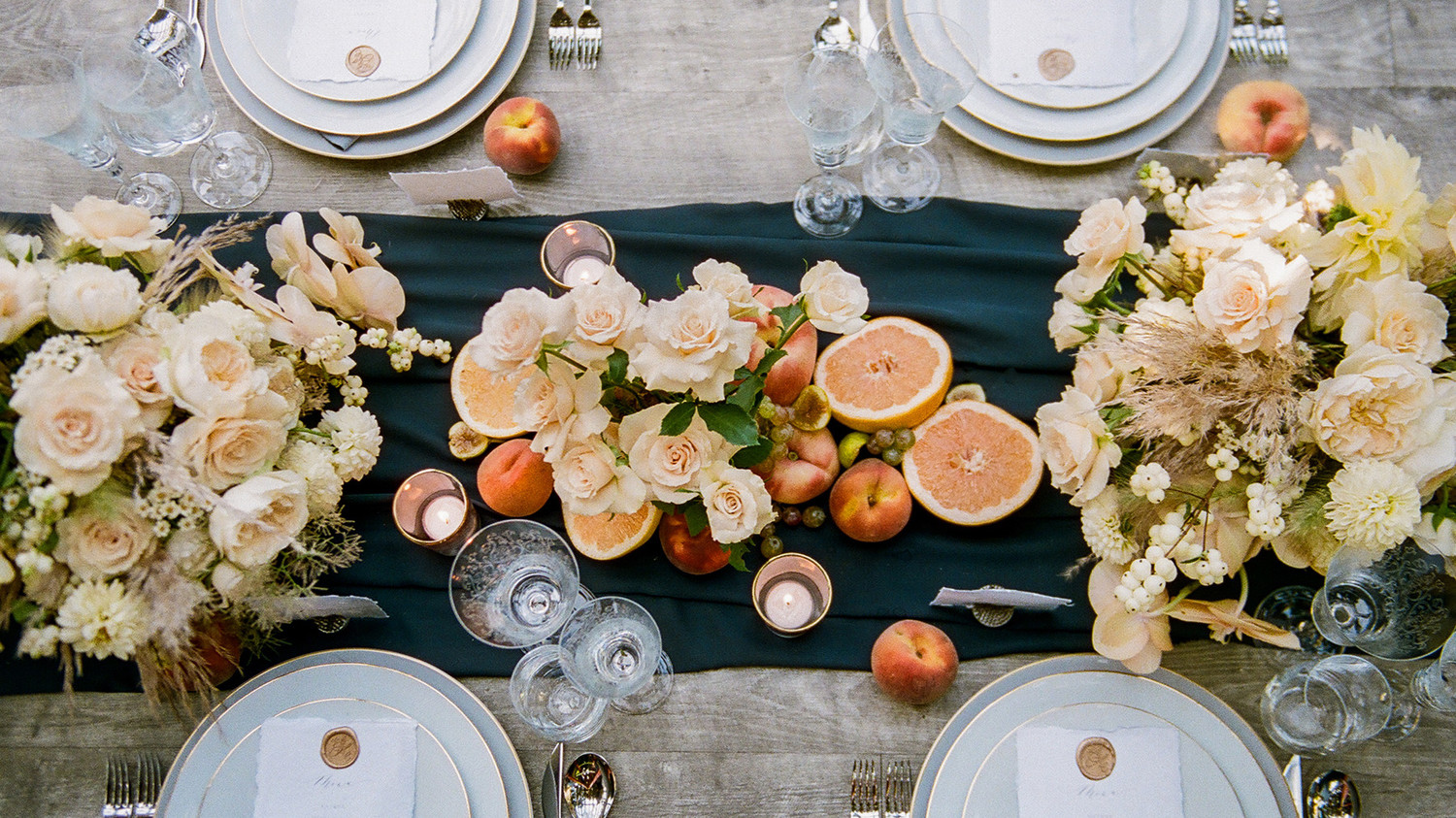 Navy and White Wedding inspiration Shoot at Wave Hill, Table from Above