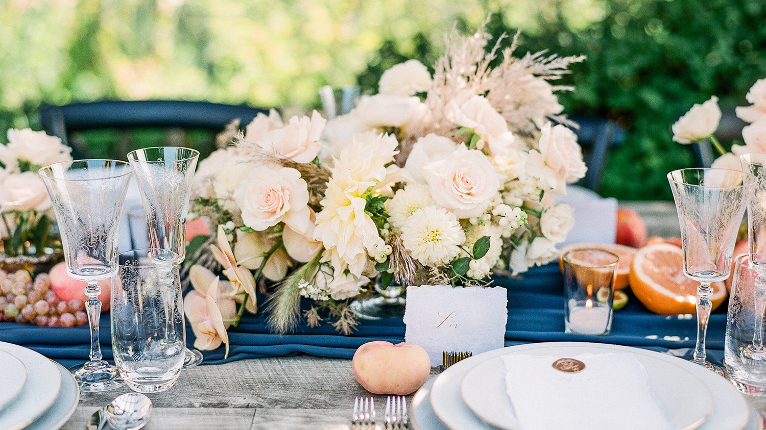 Navy and White Wedding inspiration Shoot at Wave Hill, Blush Centerpieces