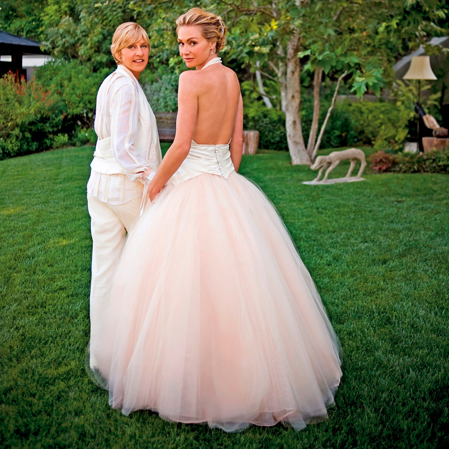 ce4d2424181 Celebrity Brides Who Wore Pink Wedding Dresses