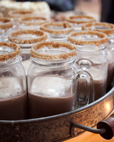 Mason Jar Hot Chocolates With Graham Cracker Rims