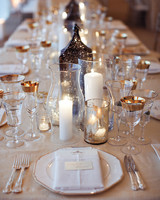 Metallic Lamp, Lantern, and Candle Centerpiece