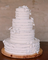 Four-Tiered Ruffled White Wedding Cake