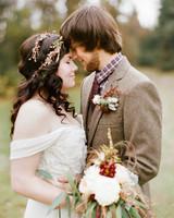 bride and groom rustic wedding