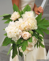 White Peony and Foliage Wedding Bouquet