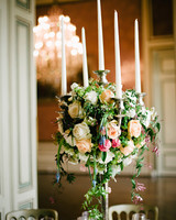 Lush Foliage-Filled Candelabra Centerpiece