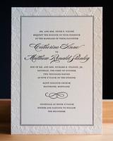 letterpress border wedding invitation