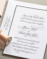 black bordered wedding invitation