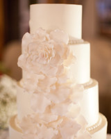 White Wedding Cake with Icing Beading and Sugar Flowers