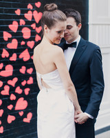 heart backdrop bride groom