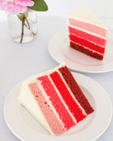 Red and Pink Ombre Wedding Cake Slice