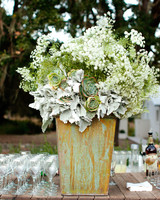 Large White and Green Wedding Centerpiece