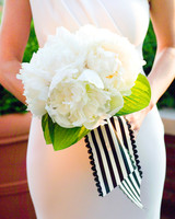 White Wedding Bouquet with Striped Bow