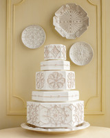 Geometric Hexagonal White Wedding Cake