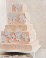 Rose-Stamped Wedding Cake