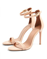 nude shoe tan two part sandals high heels