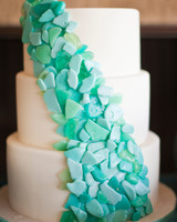 Wedding Cake with Sea Glass Design