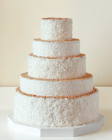 Five-Tiered Coconut-Covered White Wedding Cake