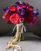 Red, Purple, and Blue Wedding Bouquet