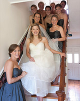 Bride on Staircase with Bridesmaids