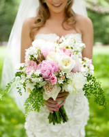 Pink, White, and Green Wedding Bouquet