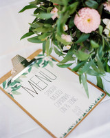 wedding menu clipboard