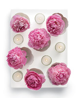 Pink Peony and White Candle Centerpiece