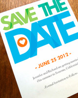 blue, orange, and green save-the-date