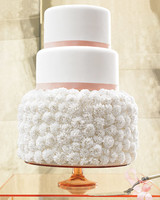 Three-Tiered White Wedding Cake with Sugar-Paste Carnations and Pink Stripes