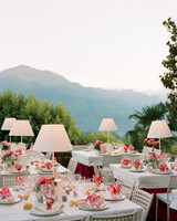 lamps on outdoor reception table