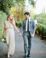 Short-Sleeved Sequin Wedding Gown
