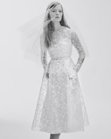Floral Lace Long-Sleeve Wedding Dress with Pockets