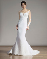 Liancarlo Illusion-Sleeved Mermaid Gown