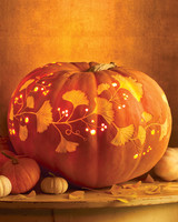 Carved Pumpkin with Foliage Design