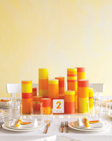 Orange, Yellow, and Red Striped Candles