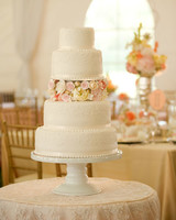 Wedding Cake with Pink and Yellow Flowers