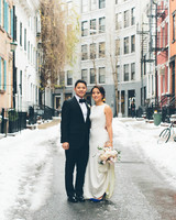 Bride and Groom in City Street